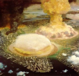 "Illustration by Chesley Bonestell of nuclear bombs detonating over New York City, entitled ""Hiroshima U.S.A."" Colliers, Aug. 5, 1950."