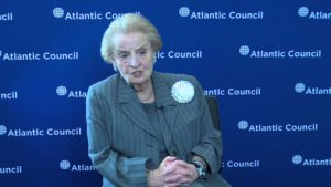 Former Secretary of State Madeleine Albright speaking at an Atlantic Council event.