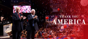 President-elect Donald Trump and his running mate Mike Pence thank their supporters for the upset victory on Nov. 8, 2016. (Photo from donaldjtrump.com)