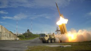 A Terminal High Altitude Area Defense (THAAD) interceptor is launched during a successful intercept test by the US Army, September 10, 2013. (Wikipedia)