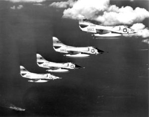 U.S. warplanes flying over the combat area during the Bay of Pigs invasion.
