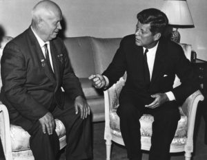 President John F. Kennedy meeting with Soviet premier Nikita Khrushchev on June 3, 1961, in Vienna. (State Department photo)