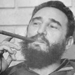 Cuban leader Fidel Castro with his trademark cigar.