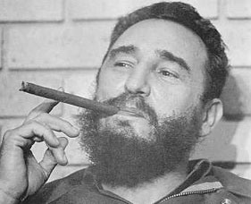 Cuban leader Fidel Castro with his trademark cigar.