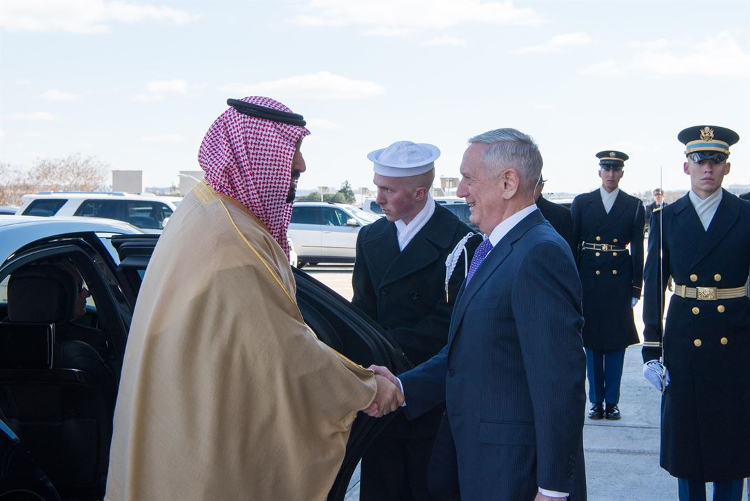 Defense secretary jim mattis welcomes saudi deputy crown prince and defense minister mohammed bin salman to the pentagon march 16 2017