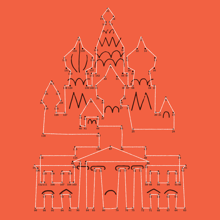 The New York Times' connect-the-dots graphic showing the Kremlin sitting atop the White House.