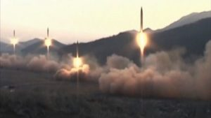 North Korean missile launch on March 6, 2017.