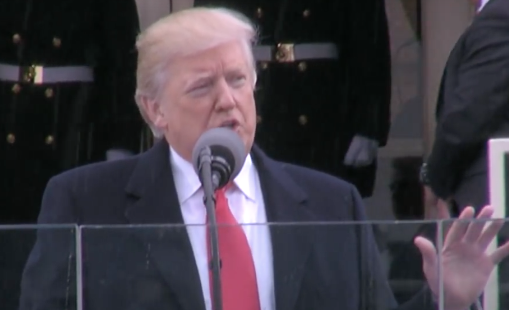 President Donald Trump delivering his inaugural address on Jan. 20, 2017. (Screen shot from Whitehouse.gov)