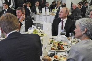 Jill Stein and Michael Flynn attending a dinner marking the RT network's 10-year anniversary in Moscow, December 2015, sitting at the same table as Russian President Vladimir Putin