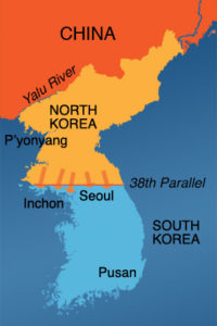 A map of the Korean Peninsula showing the 38th Parallel where the DMZ was established in 1953. (Wikipedia)