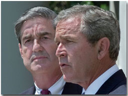 Robert Mueller with President George W. Bush on July 5, 2001, as Bush nominated Mueller to be FBI Director. (White House photo)