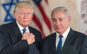 President Donald Trump and Prime Minister Benjamin Netanyahu shake hands