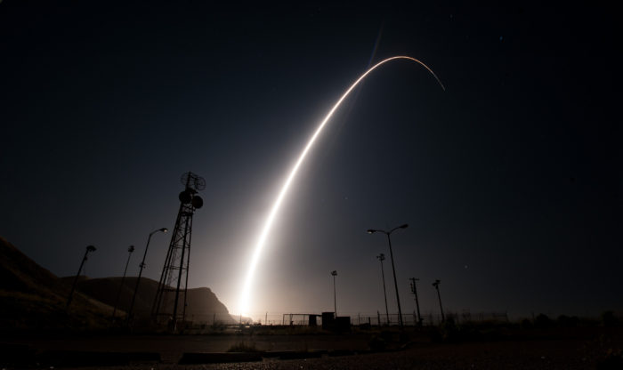 An unarmed Minuteman III intercontinental ballistic missile launches during an operational test, April 26, 2017, from Vandenberg Air Force Base, Calif. (U.S. Air Force photo by Senior Airman Ian Dudley)