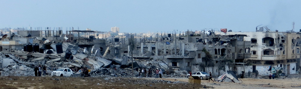 Town of Beit Hanoun in the northern Gaza Strip, Aug. 5, 2014, in the course of the ceasefire. (Muhammad Sabah, B'Tselem field researcher, via Wikimedia)