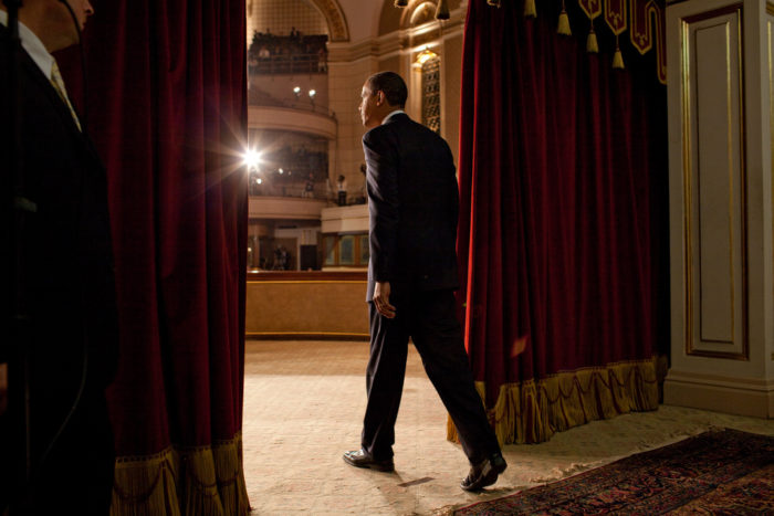 Obama taking stage to speak at Cairo American University, June 4, 2009. (Official White House Photo by Pete Souza)
