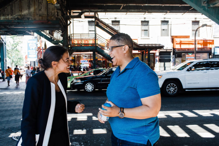 Alexandria Ocasio-Cortez with Kerri Evelyn Harris, at right. (Corey Torpie on flickr)