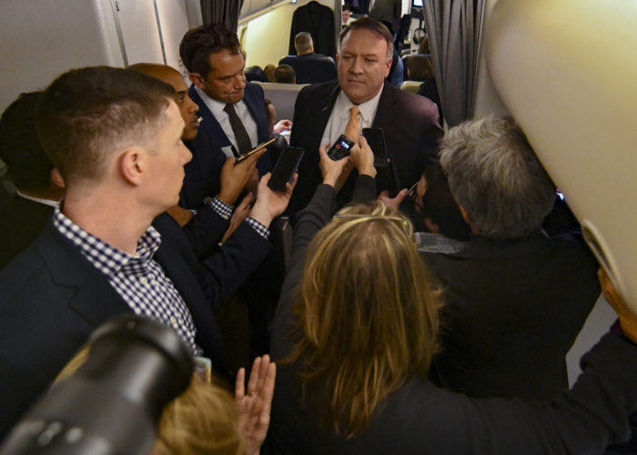 Pompeo with traveling press on Middle East trip, Jan. 7, 2019. (State Department photo by Ron Pryzsucha)
