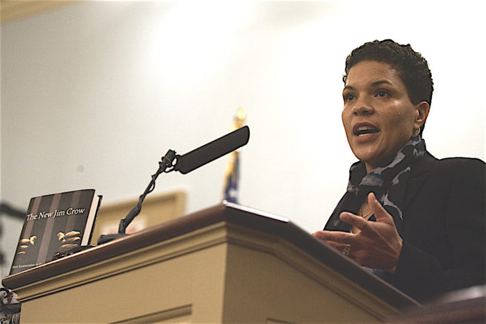 Michelle Alexander speaks at the Miller Center Forum, 2011. (Wikimedia)