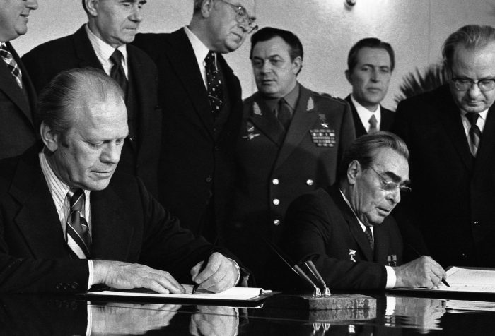 President Gerald Ford and Soviet General Secretary Leonid Brezhnev sign joint communiqué following talks on the limitation of strategic offensive arms, including nuclear delivery vehicles, intercontinental ballistic missiles and submarine-launched ballistic missiles fitted with multiple independently targetable reentry vehicles, or MIRVs. (Wikimedia)