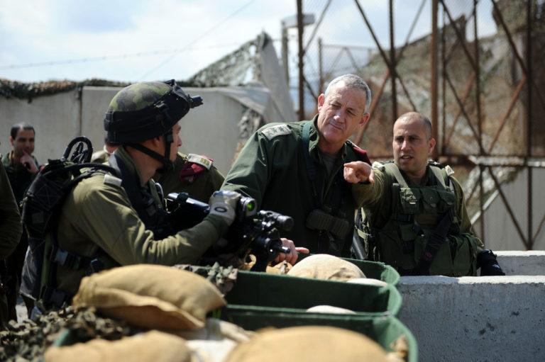 Lt. Gen. Benny Gantz, center, with soldiers, 2012. (Israeli Defense Forces via Flickr)