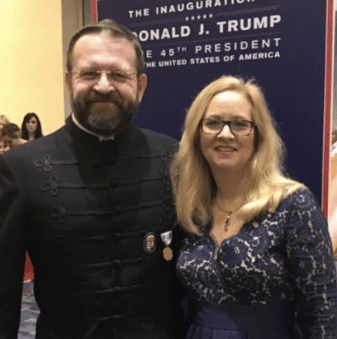 Sebastian Gorka, in Vitezi Rend garb, with his wife, Katharine, on Election Night