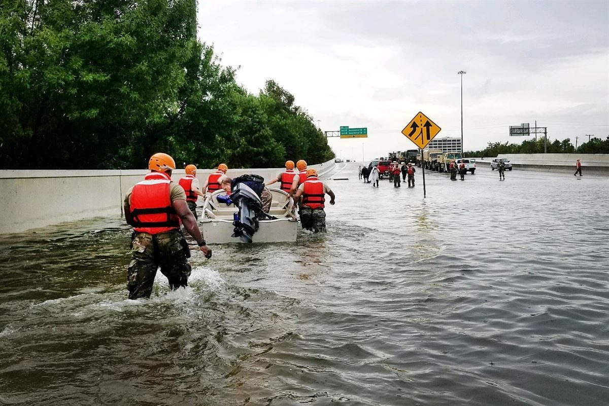 Texas National Guard soldiers in Houston, Aug. 27, 2017, to aid residents affected by Hurricane Harvey. (Texas Army National Guard photo)