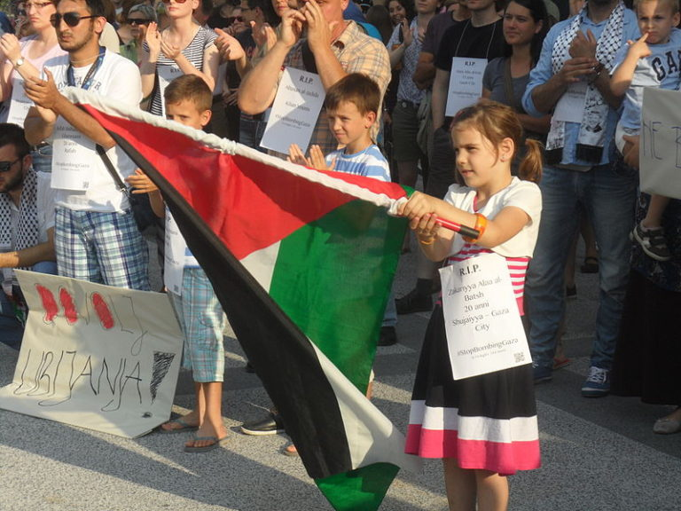 Children as far away as Ljubljana, Slovenia, participate in rally against Israeli violence in the Gaza strip, July 18, 2014. (Mzaplotnik on Wikimedia)