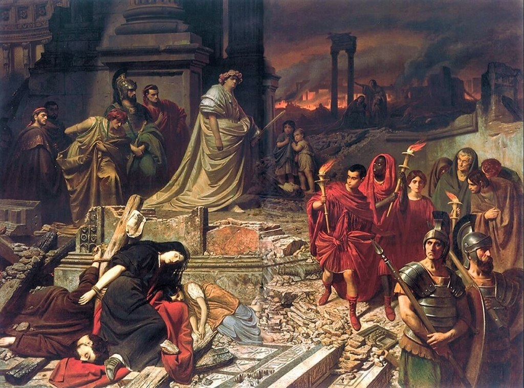 """Nero Views the Burning of Rome,"" painting by Carl Theodor von Piloty. (Wikimedia)"