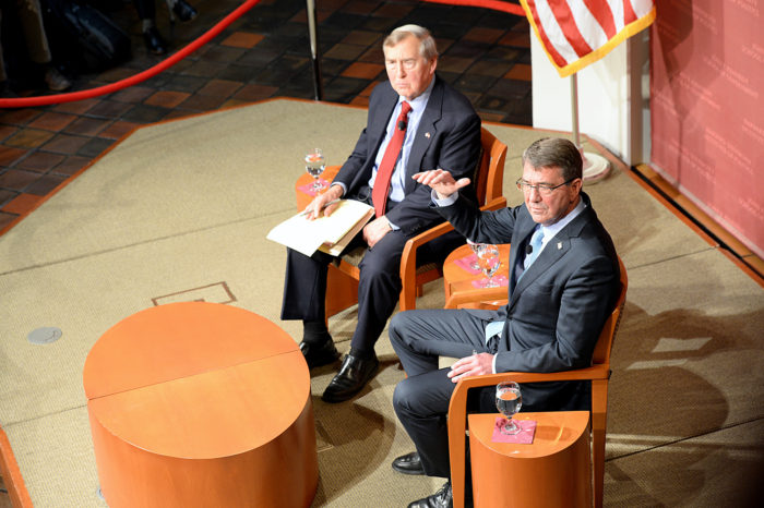 Graham Allison, left, moderating discussion with Defense Secretary Ash Carter at Harvard University's John F. Kennedy Jr. Forum in Cambridge, Mass., 2015. (DoD photo by U.S. Army Sgt. 1st Class Clydell Kinchen)