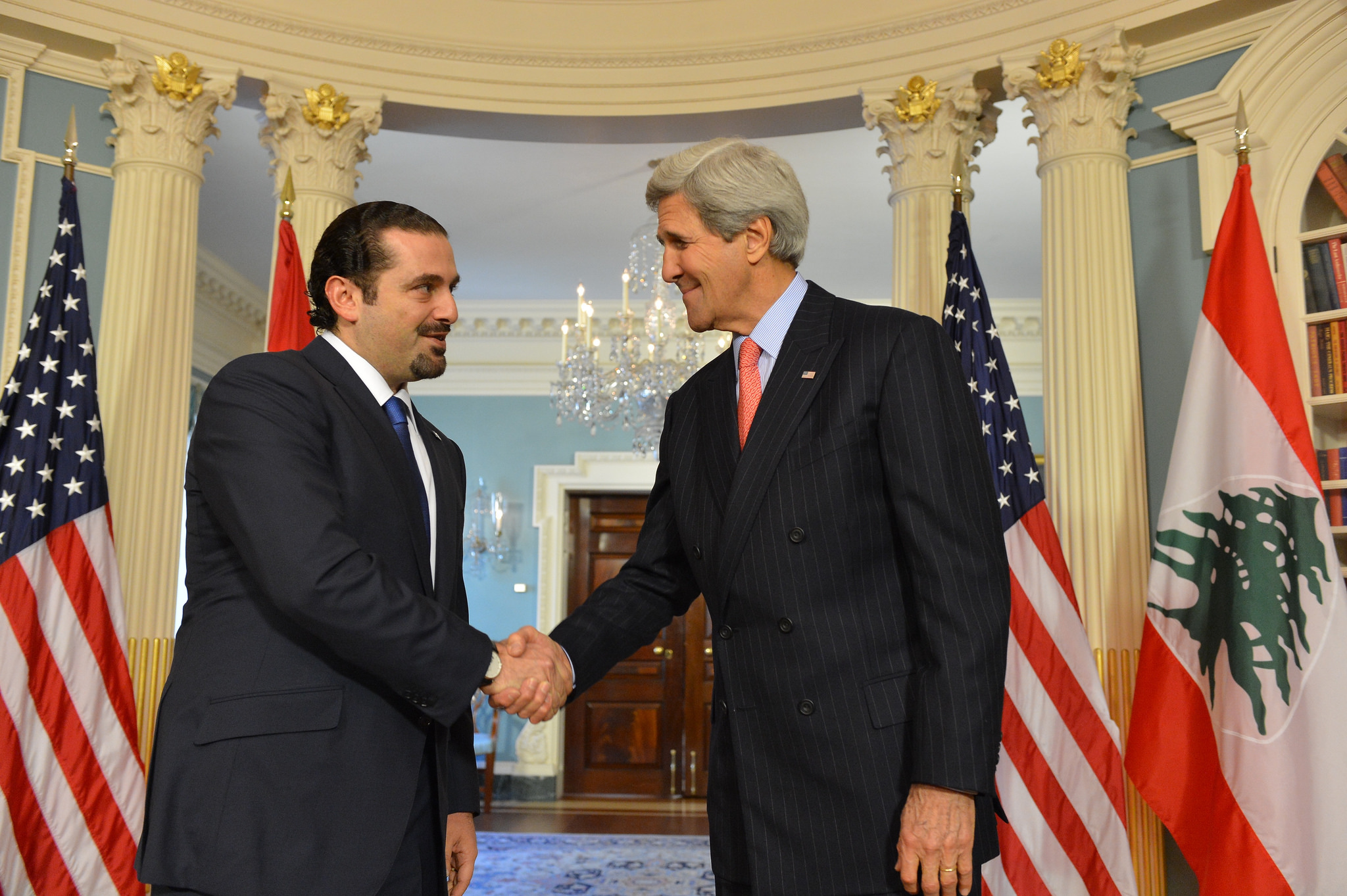 Prime Minister Sa`d Hariri, left, with former U.S. Secretary of State John Kerry, Washington, D.C., 2015. (State Department)