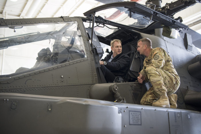 Pat Shanahan, while serving as deputy defense secretary, at Joint Base Lewis-McChord, Wash., 2017. (DoD photo by Air Force Tech. Sgt. Brigitte N. Brantley)