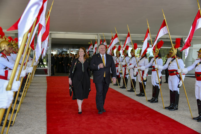 Pompeo and his wife Susan Pompeo at inauguration ceremony of Brazilian President Jair Bolsonaro, Brasilia; Jan. 1, 2019. (State Department)
