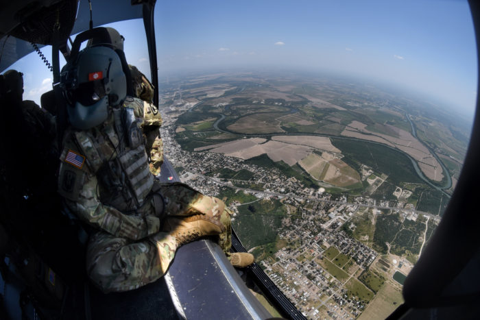 Task Force Aviation and S.C. Army National Guard soldiers provide airborne support to the U.S. Department of Homeland Security in proximity of the southwest border [with Mexico], McAllen, Rio Grande valley, Texas, July 26-30, 2018. (U.S. Army National Guard Photo by Staff Sgt. Roberto Di Giovine)