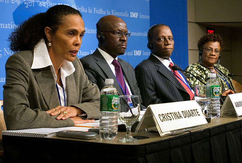 African Finance Ministers at IMF press conference at IMF headquarters in Washington, D.C., 2007. From left to right: Christina Duarte of Cape Verde, Abou-Baker Traore of Mali, Shamsuddeen Usman of Nigeria, Zakia Meghji of Tanzania. (Thomas Dooley via Wikimedia)