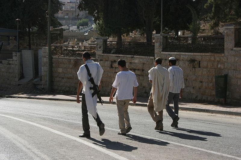 Settlers taking a walk on Shuhada Street in Hebron, 2010. (Stella via Wikimedia)