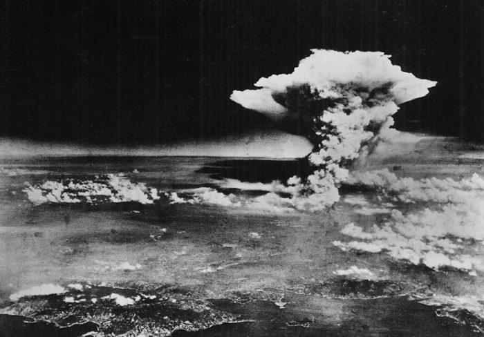 "Atomic cloud over Hiroshima, Aug. 6, 1945; taken from ""Enola Gay"" flying over Matsuyama, Shikoku. (Wikimedia)"