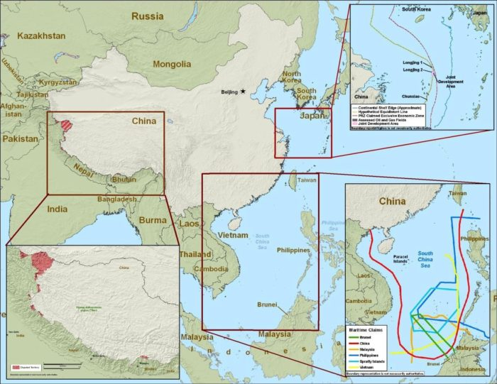 Dec. 31, 2010, Department of Defense approximate map of PRC and other regional claims.