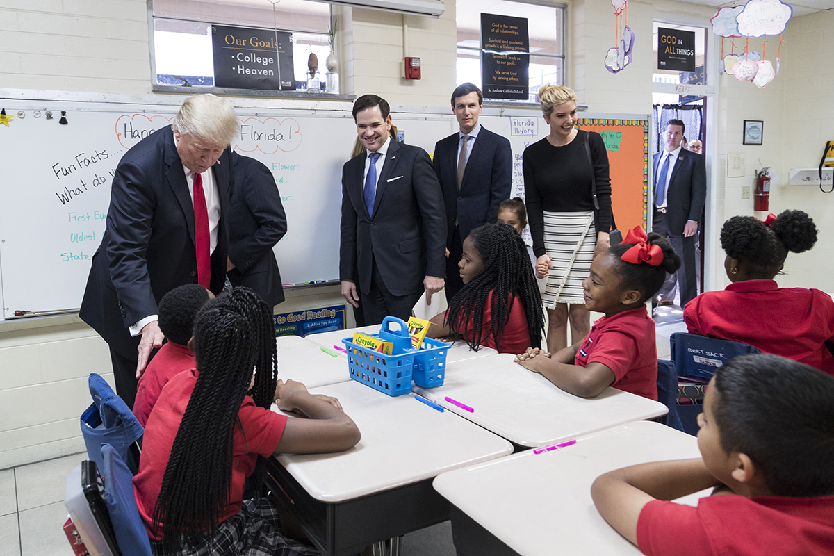 Trump, Rubio (FL), Jared Kushner, and Ivanka Trump visit classroom at Saint Andrew's Catholic School in Orlando, 2017. (Official White House Photo by Shealah Craighead)