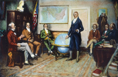 """The Birth of the Monroe Doctrine"" by Clyde O. DeLand: U.S. President James Monroe presides over a cabinet meeting in 1823, discussing the Monroe Doctrine. Depicted people: John Quincy Adams, William H. Crawford, William Wirt, James Monroe, John C. Calhoun, Daniel D. Tompkins and John McLean"
