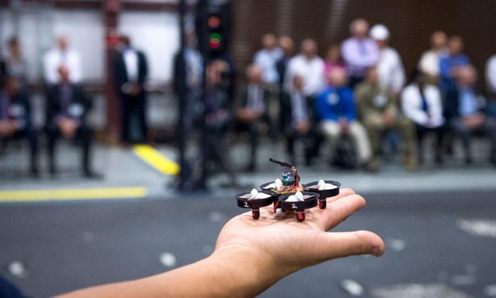 A micro-robot displayed in 2017, Aberdeen Proving Ground, Maryland, as part of the showcasing of a collaboration among industry, academic research and the Army called the micro autonomous systems and technology, or MAST. (U.S. Army photo by by Jhi Scott)