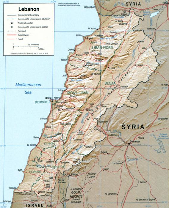 CIA 2002 map of Lebanon, 2002. (Wikimedia)