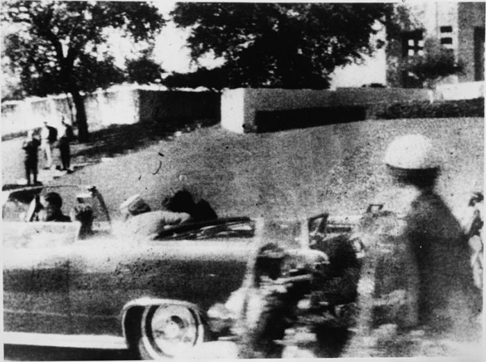 Mary Ann Moorman's Polaroid photograph of the assassination of President Kennedy, taken an estimated one-sixth of a second after the fatal head shot on Friday, Nov. 22, 1963, Elm Street, Dealey Plaza, Dallas. (Wikimedia)