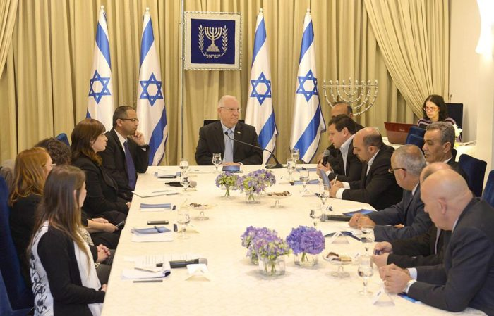 The Joint List during the consultation process at President Reuven Rivlin's official residence, after the 2015 elections. (Mark Neyman, Government Press Office of Israel, CC)