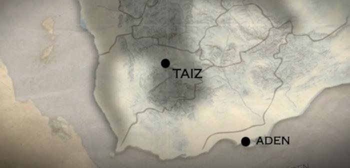 Detail of map of southern Yemen.