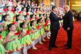 Performers at the Great Hall of the People in Beijing with Xi and Trump, 2017. (White House Photo by Andrea Hanks)