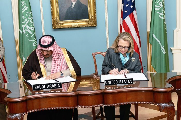 Hillary Clinton, as secretary of state, in signing ceremony with Saudi interior minister, 2013. (State Department)