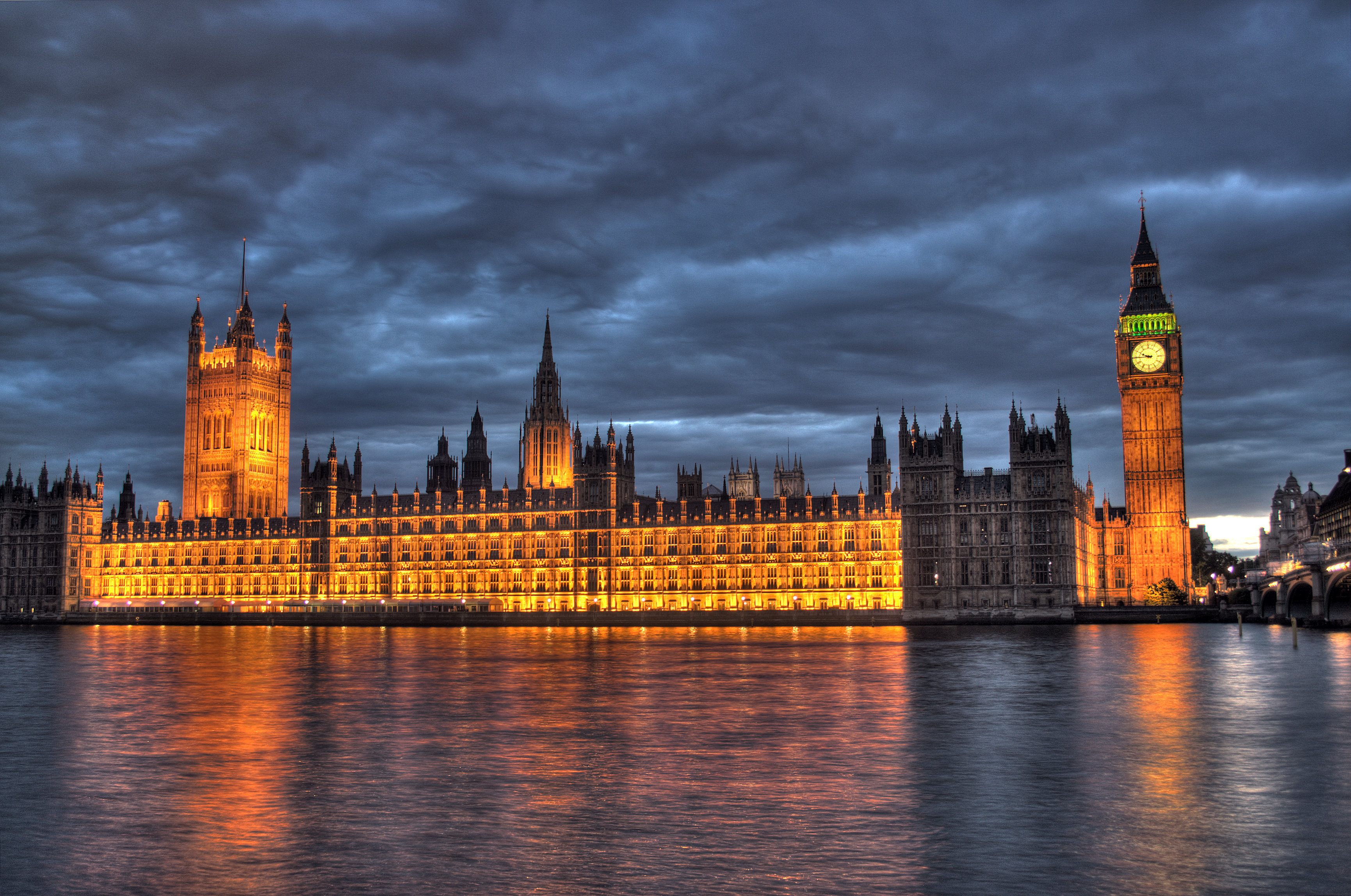 Westminster Palace, aka Houses of Parliament, and Big Ben, at night. (Maurice via Flickr)