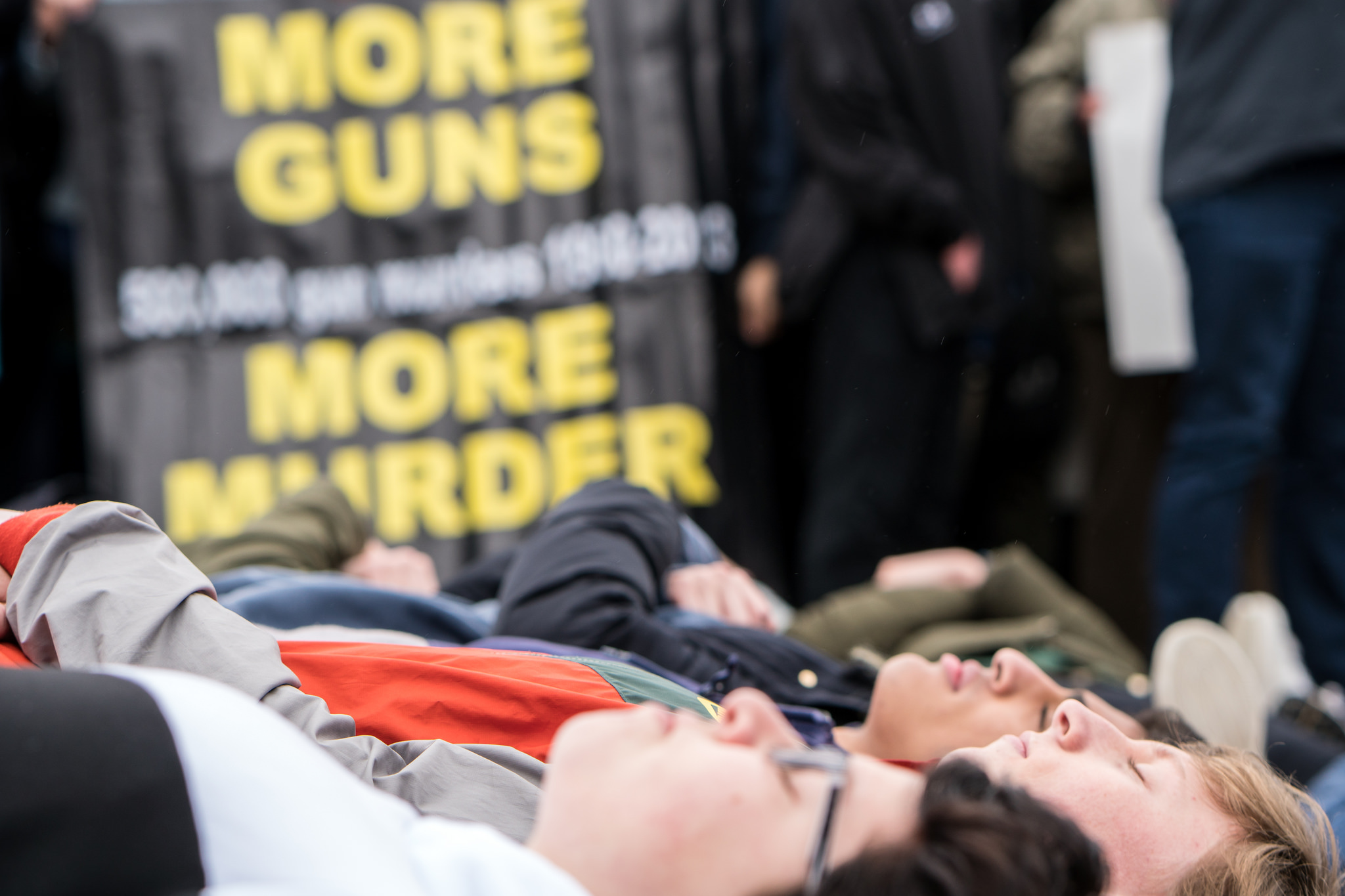 Die-in demonstration in February 2018 organized by Teens For Gun Reform in wake of the shooting at Marjory Stoneman Douglas High School in Parkland, Florida. (Lorie Shaull via Flickr)