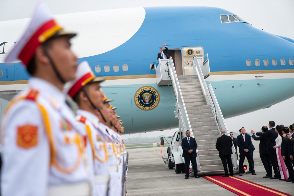 Trump leaving second summit with Kim Jong Un, Feb. 28, 2019, at Noi Bai International Airport in Hanoi. (White House Photo by Shealah Craighead)
