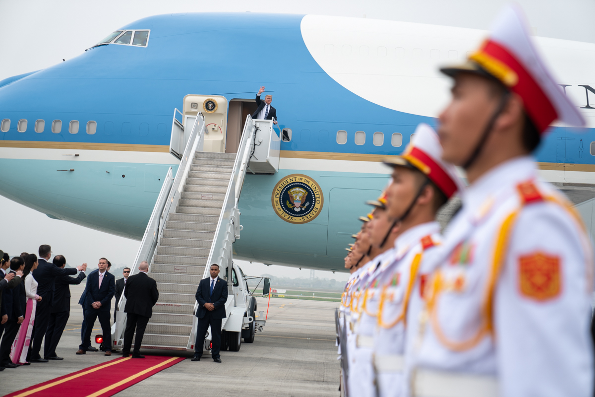 Trump leaving second summit with Kim Jong Un, Feb. 28, 2019, at Noi Bai International Airport in Hanoi. (White House Photo by Shealah Craighead)
